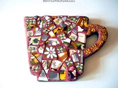 Mosaic Tea Cup Wall Hanging Pique Assiette by earthmothermosaics, $48.00