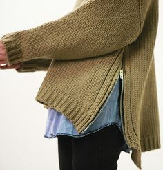 sweater with side zipper detail