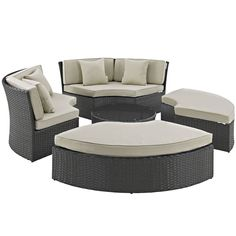 Modway Stopover Outdoor Patio Sofa and Ottoman Set (Beige), Size 4-Piece Sets, Patio Furniture (Aluminum)