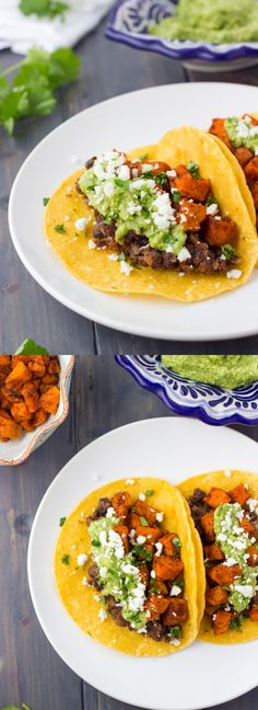 Sweet Potato & Black Bean Tacos with Avocado Sauce and Feta Cheese. The most flavorful vegetarian tacos you'll ever eat!