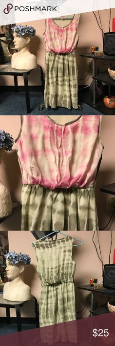 Tie die dress Sleeveless pink and green tie dye dress. Just above the knee, elastic waist. No belt with it. fashion spy Dresses