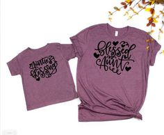 Sassy Like My Auntie Children/'s Kids T Shirts T-Shirt Top Purple Pink