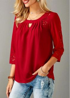 I love the true red and small cutout detail. Red Laser Cut Out Round Neck Blouse on sale only US$32.53 now, buy cheap Red Laser Cut Out Round Neck Blouse at liligal.com