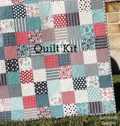 Boat House Quilt Kit, Sweetwater, Moda Fabrics, Red Blue Navy, Baby and Throw Size, Nautical Anchors Coastal Sea Ocean, Precut Squares