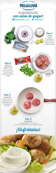 Receta paso a paso de unas deliciosas Albóndigas con salsa de yogurt.: