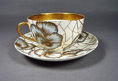 Antique 19th C Haviland H&c/l Limoges Large Cup & Saucer Hand Painted & Signed