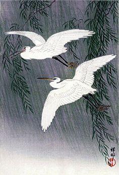 "Japanese Art Print ""White Herons and Willow"" by Ohara Koson. (Color 2) Shin Hanga and Art Reproductions http://www.amazon.com/dp/B00XX7C9SI/ref=cm_sw_r_pi_dp_0UWvwb1TS148D"