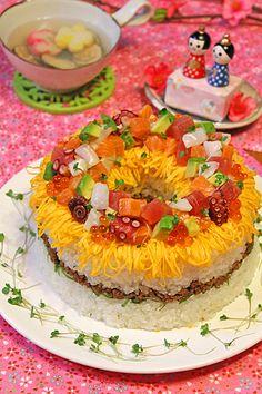 雛祭り海鮮リングちらし寿司ケーキ☆ ぱおのおうちで世界ごはん☆ 今日は雛祭りのちらし寿司!