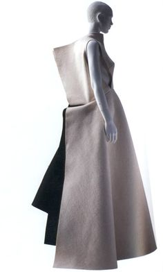 bostonroll:    keepsdiary:    Yohji Yamomoto F/W 1996 Black and white felt, black knit under skirt