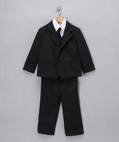 Black Stripe 5-Piece Suit - Infant Toddler & Boys
