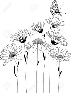 floral pattern bouquet of stylized flowers bo .- Blumenmuster Strauß stilisierter Blumen bou floral pattern bouquet of stylized flowers bou pattern - Art Floral, Floral Drawing, Design Floral, Floral Flowers, Flower Design Drawing, Daisy Drawing, Flower Pattern Drawing, Flower Pattern Design, Pretty Flowers