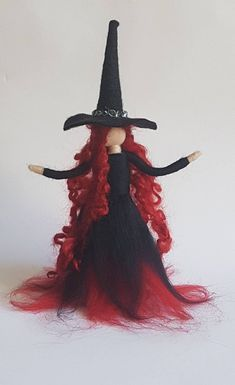 Holding incredible power comes with much responsibility, the head of our felt witches Coven has arrived. Dressed in a fabulous midnight black and blood red gown she commands attention and respect. Her long, bright, curled red hair reaches far past her wai Fairy Crafts, Felt Crafts, Halloween Witch Decorations, Halloween Gifts, Halloween Witches, Halloween Prop, Happy Halloween, Witch Coven, Felt Fairy