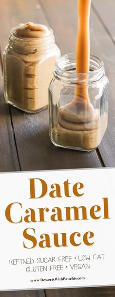 [How to make Date Caramel Sauce] This Healthy Date Caramel Sauce is silky smooth creamy rich and sweet you'd never know it's vegan and low fat with no sugar added! Healthy Dessert Recipes with sugar free low calorie low carb high protein gluten fr Healthy Vegan Dessert, Vegan Sweets, Healthy Desserts, Desserts Caramel, Low Fat Desserts, Raw Desserts, Date Dessert Recipes Vegan, Date Sugar Recipes, Desserts With Dates