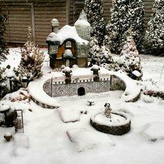 Our snowy miniature fairy garden @EnchantedAcorn #frozen #fairygardens