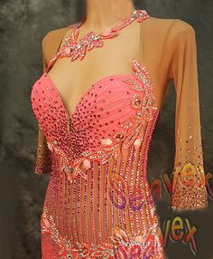 Women-Ballroom-Rhythm-Salsa-Rumba-Latin-Dance-Dress-US-8-UK-10-Same-Color