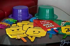 Lego birthday party - Lego photo booth props