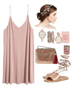 """""""rose gold"""" by jez-alex ❤ liked on Polyvore featuring Jennifer Behr, Jessica Carlyle, Neiman Marcus, Bulgari and Ancient Greek Sandals"""