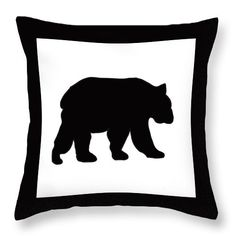 silhouette of Black Grizzly Bear Throw Pillow by Irene Irene