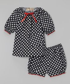 Black Polka Dot Peasant Top & Bloomers - Infant by Lele Vintage #zulily #zulilyfinds