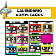 Recursos per imprimir en castellà i en català (calendari del curs, aniversaris, cartells, material...)
