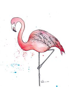 Pink Flamingo Bird Watercolour Art Drawing by CloudsofColourShop, $25.00