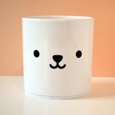 Bear Face White Tumbler. Perfect for your toddler's drinks, as a toothbrush holder or even a pen pot.