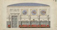 Karl Friedrich Schinkel: Entwurf zum Salon der Wohnung Friedrich Wilhelms IV. im Berliner Schloss, 1824/1825 (© Staatliche Museen zu Berlin, Kupferstichkabinett)