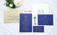Paperi & Co.   Gold Foiling on Navy Card Stock Elegant Invitation #paperiandco #wedding