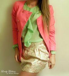 earrings - House (sale); shirt - Top Secret (sale); skirt - George (second hand); blazer - H&M; gold skirt