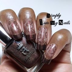 AEngland Brairwood negative space funky French stamped with BP02 Born Pretty lace stamping plate