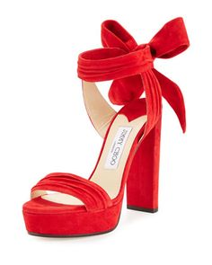 Kaytrin+Suede+120mm+Platform+Sandal,+Red+by+Jimmy+Choo+at+Neiman+Marcus.