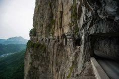 Guoliang Tunnel most well-known tunnels in the world kilometres mi) lengthy 5 metres 16 feet tall Resorts, Dangerous Roads, By Train, Nature Photos, Drum, Paths, Waterfall, Road Trip, Paisajes