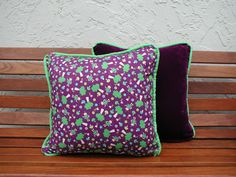 Decorative Throw Pillow Purple Velvet Fairies Trimmed in Lime Green Accent…