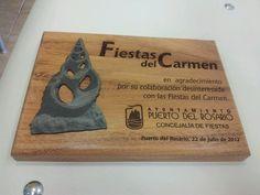 """Placa de agradecimiento 'Fiestas del Carmen"""""""