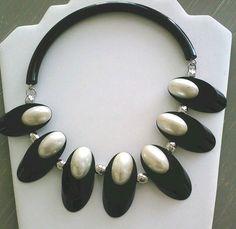 VTG JUDITH HENDLER 1980's Black & White LUCITE Collar NECKLACE #JudithHendler #Collar
