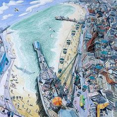 British art gallery for modern British paintings limited edition prints and contemporary art by leading contemporary British artists - Red Rag British Art Gallery. John Galliano, Clarks, Steve Madden, British Seaside, Seaside Towns, Blackpool, Great British, Contemporary Art, Paisajes