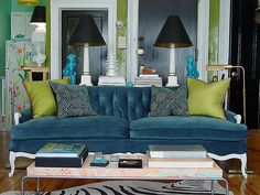 Peacock couch - the lime really sets off the blue.
