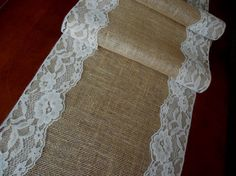 Burlap and lace table runner wedding table by DaniellesCorner