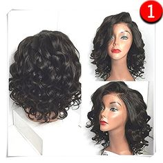 COLODO Synthetic Lace Front Wigs Wet And Wavy For Women Short Hairstyles Black Color >>> Read more  at the image link.Note:It is affiliate link to Amazon.