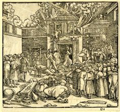 Artist: Weiditz d.J., Hans, Title: The Fire, Date: 1522, Description: flames coming from a town house in background from which its inhabitants are fleeing; some of their possessions in foreground; onlookers standing in the street in front of the building; illustration to Petrarch, 'Von der Artzney bayder Glück', Augsburg: Steiner