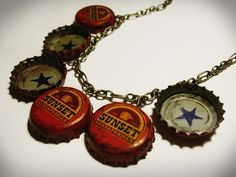 My Sunset Sarsaparilla Star Cap Necklace from Fallout New Vegas. This is going to be part of my Fallout costume that I am wearing to Dragon*Con this yea. Fallout Costume, Fallout Props, Fallout 3, Fallout New Vegas, Ordinary World Green Day, Stephanie Perkins, You Broke My Heart, Yes Man, Bottle Cap Necklace