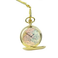 Personalised pocket watch featuring a segment of vintage map made
