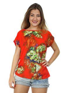 Blusa canoa de crepe e viscolycra coral com estampa floral. Acesse: http://www.modanaweb.com.br/loja/products.php?product=blusa-canoa-de-crepe-e-viscolycra-coral-com-estampa-floral