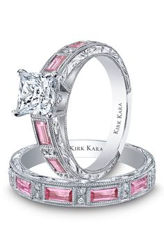 Engagement Ring and Wedding Band Photos | Brides.com Kirk Kara Dahliah Collection..... WAAAAY too expensive... But a girl can dream!! LOL!!