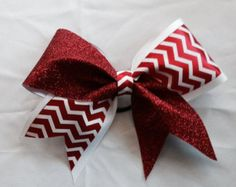 Cheer Bow~ red and White Chevron~ Softball Bow