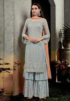 Online shopping for designer salwar kameez and salwar suits.Shop this faux georgette grey palazzo designer salwar kameez. Bollywood Suits, Bollywood Dress, Pakistani Suits, Pakistani Dresses, Indian Dresses, Punjabi Suits, Eid Dresses, Bollywood Style, Bridal Dresses