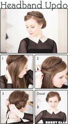 """headband updo"" hairstyle tutorial"