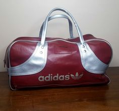 652036fe9a87 Vintage 1970 s Adidas Duffle Bag Luggage Retro Gym Sports Travel Carry-On  Tote Trefoil Aesthetic Burgundy Metallic Silver Faux Leather Gift