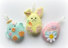 Felt Easter Friends decorations. Felt Bunny. Felt Easter Chick. Felt Easter Egg. Your choice of one of a choice of 9 styles of decoration. by PollyChromeCrafts on Etsy https://www.etsy.com/listing/272507848/felt-easter-friends-decorations-felt