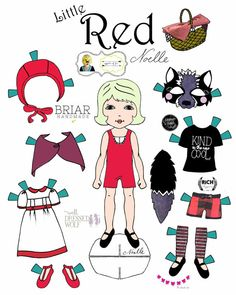 Opposite Of Far Story Book Collaboration Little Red And Wolf Paper Doll Set Printable Dolls Riding Hood Halloween